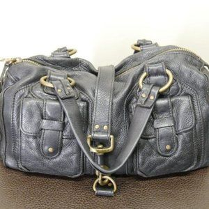 Linea Pelle Pebbled Blk Leather Satchel